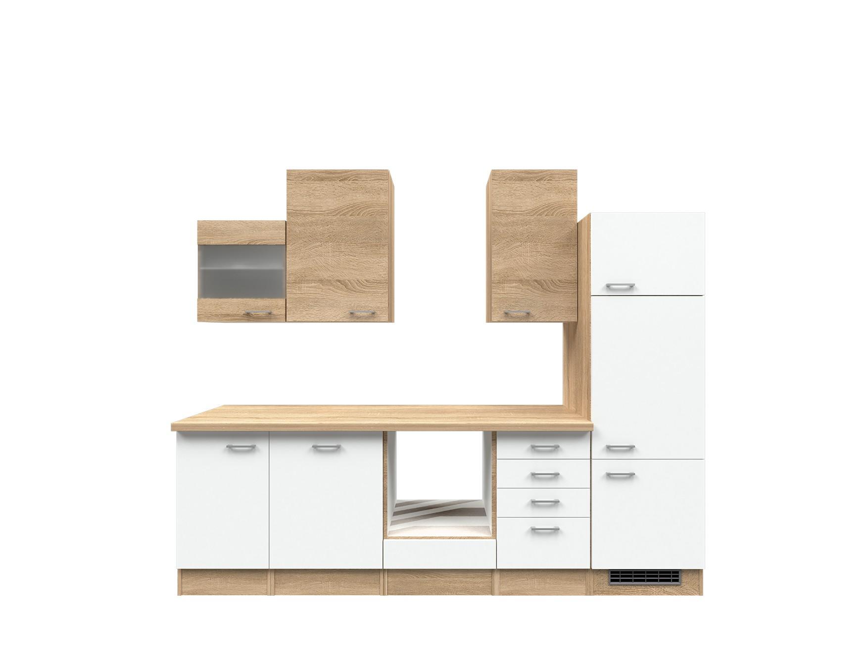 Küchenzeile ROM Küchen Leerblock Breite 280 cm Weiß