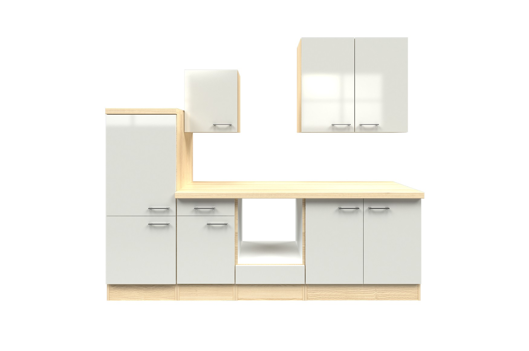 k chenblock florenz k chen leerblock k chenzeile mit midischrank 270 cm weiss ebay. Black Bedroom Furniture Sets. Home Design Ideas