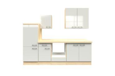 Küchenzeile FLORENZ - Küchen-Leerblock mit Midi-Umbauschrank - Breite 270 cm - Perlmutt Weiß