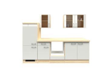 Küchenzeile FLORENZ - Küchen-Leerblock - 7-teilig - Breite 270 cm - Perlmutt Weiß