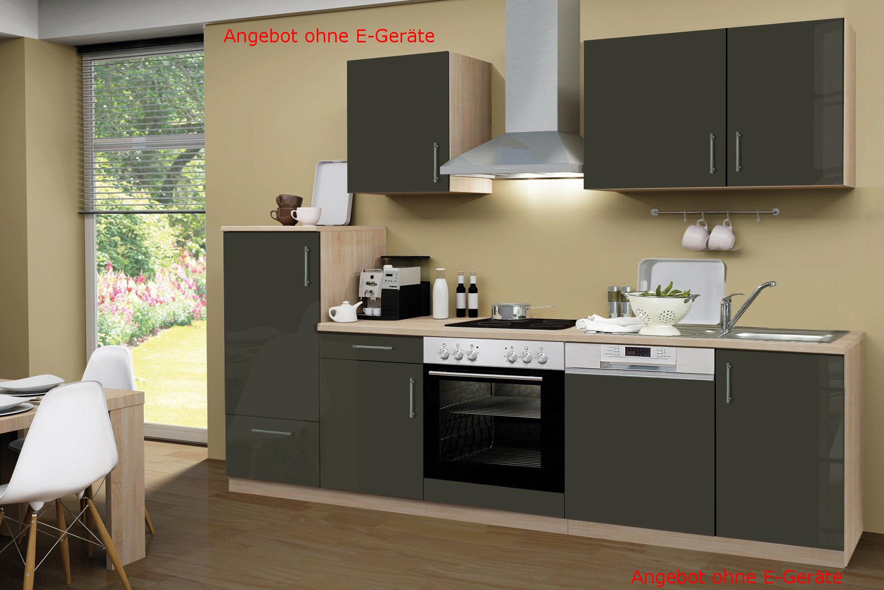 k chenblock ohne ger te einbauk che ohne elektroger te k che 280 hochglanz braun ebay. Black Bedroom Furniture Sets. Home Design Ideas