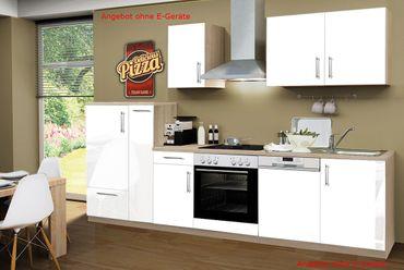 Küchenzeile STOCKHOLM - Küchen-Leerblock - 10-teilig - Breite 300 cm - Hochglanz Weiß