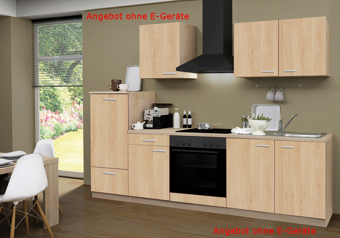 k chenzeile g teborg k che k chen leerblock k chenblock 270 cm eiche sonoma ebay. Black Bedroom Furniture Sets. Home Design Ideas