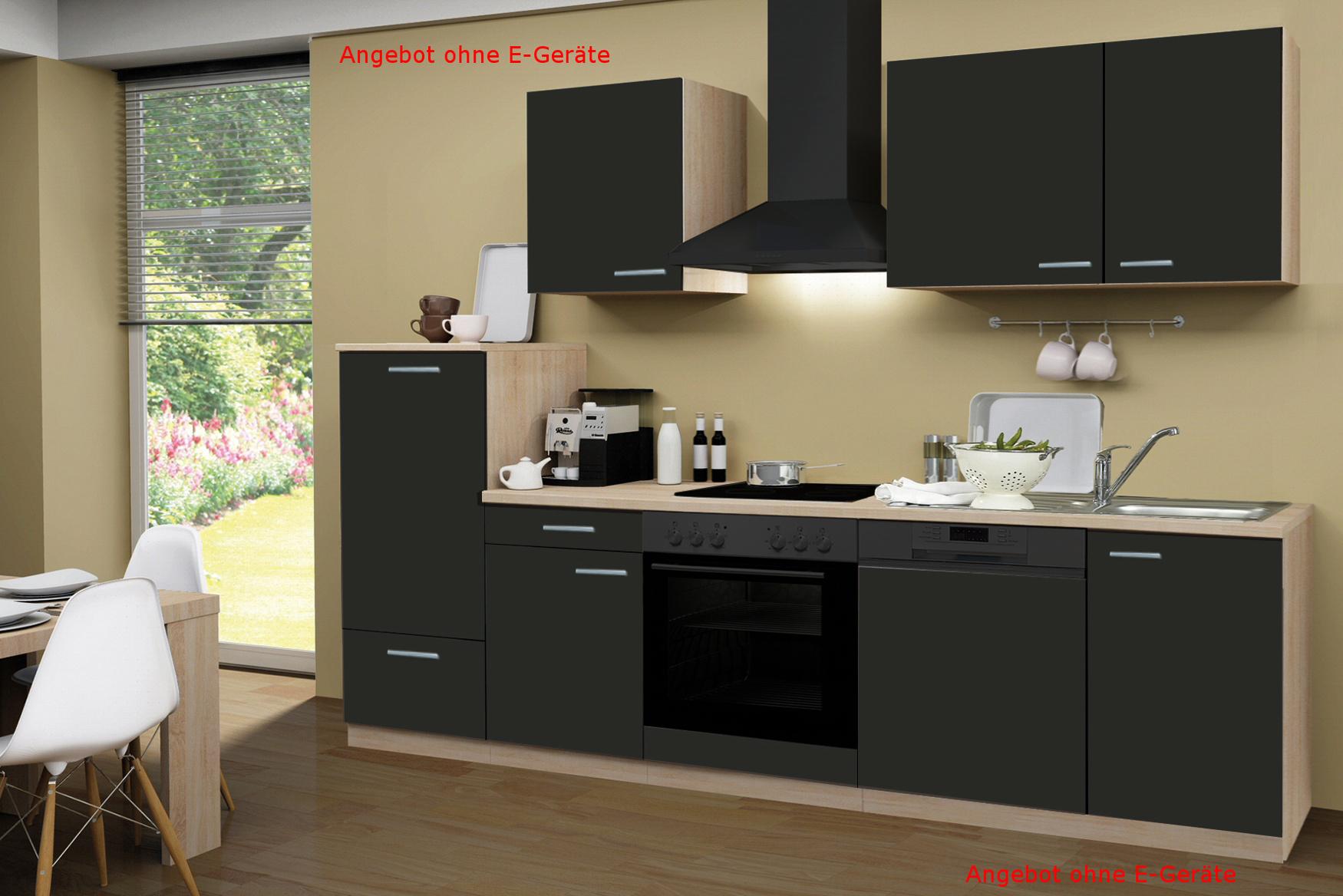 Details zu Küche ohne Elektrogeräte Küchenzeile ohne Geräte Einbauküche 280  cm schoko-braun