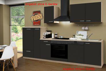 Küchenzeile GÖTEBORG - Küchen-Leerblock - 10-teilig - Breite 300 cm - Schoko-Braun