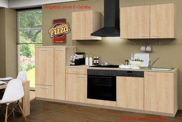 Küchenzeile GÖTEBORG - Küchen-Leerblock - Breite 310 cm - Eiche Sonoma