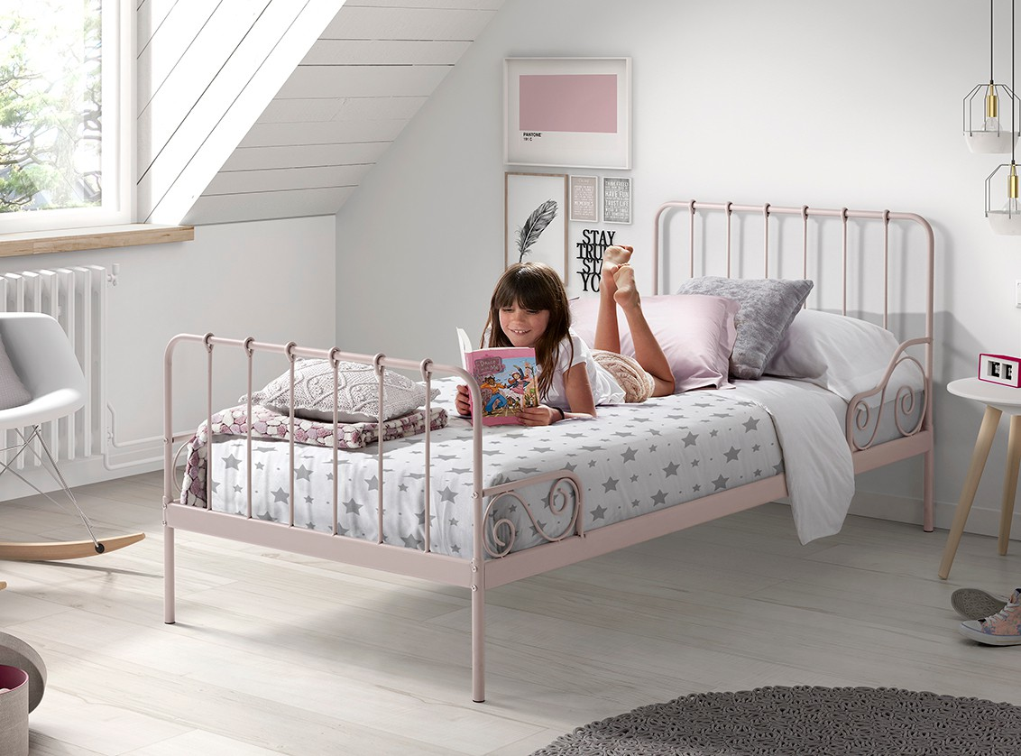 metallbett alice liegefl che 90 x 200 cm rosa kinder jugendzimmer betten. Black Bedroom Furniture Sets. Home Design Ideas