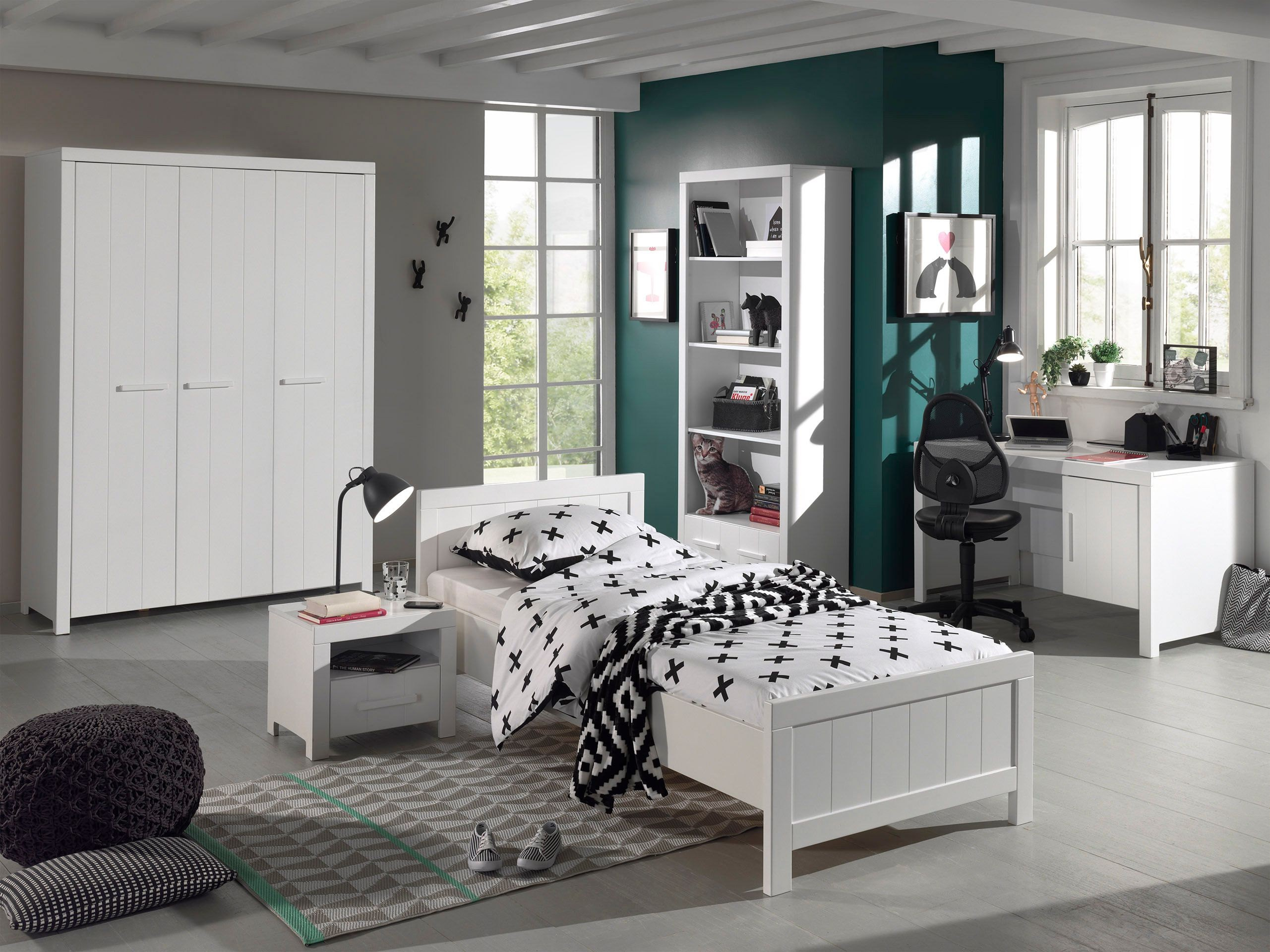 kleiderschrank erik 3 t rig wei kinder jugendzimmer. Black Bedroom Furniture Sets. Home Design Ideas