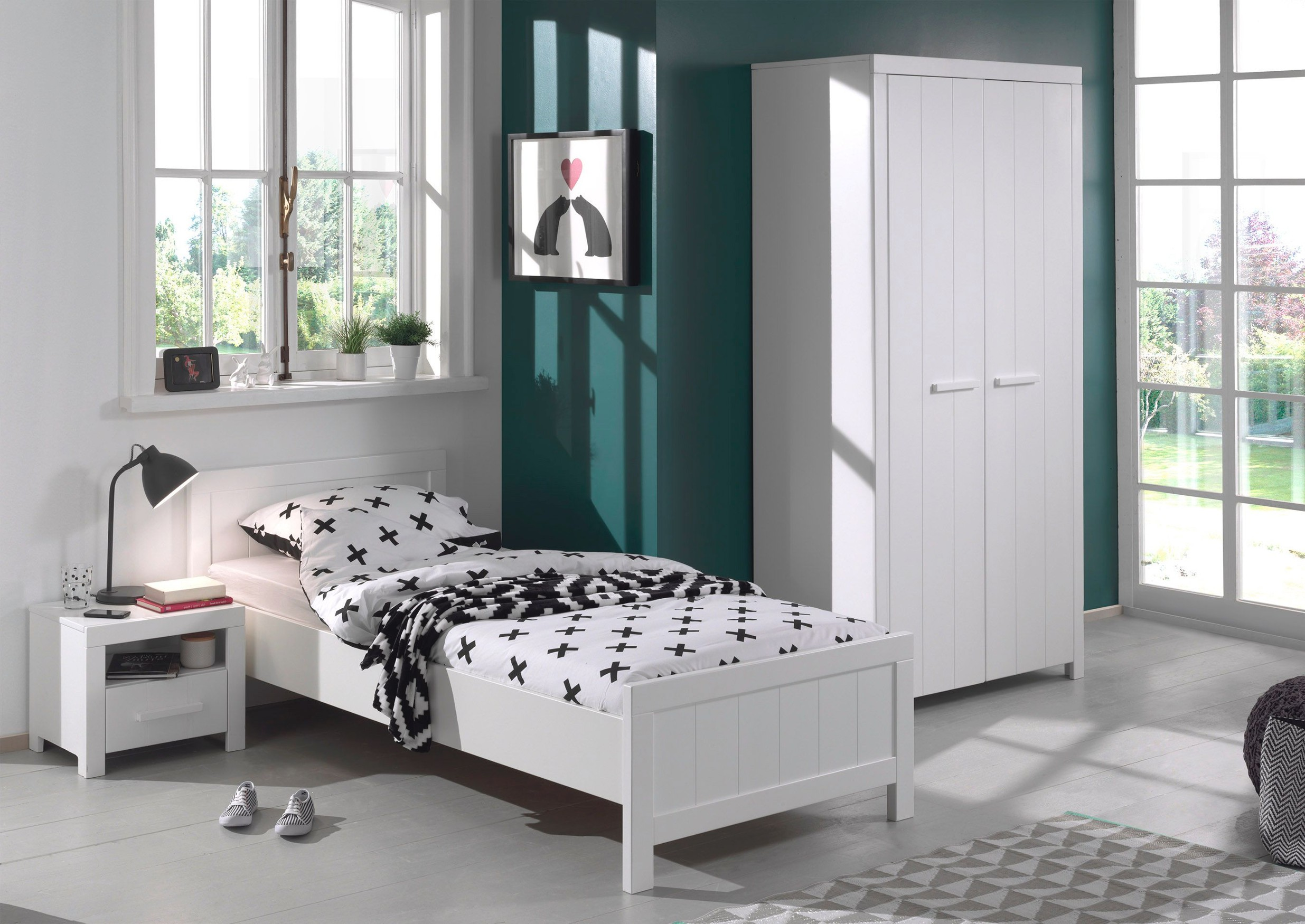 jugendzimmer erik bett 90 x 200 cm kleiderschrank und. Black Bedroom Furniture Sets. Home Design Ideas