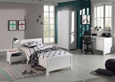 Jugendzimmer ERIK - komplett mit Einzelbett, Kleiderschrank 2-türig, Schreibtisch und Nachtkonsole
