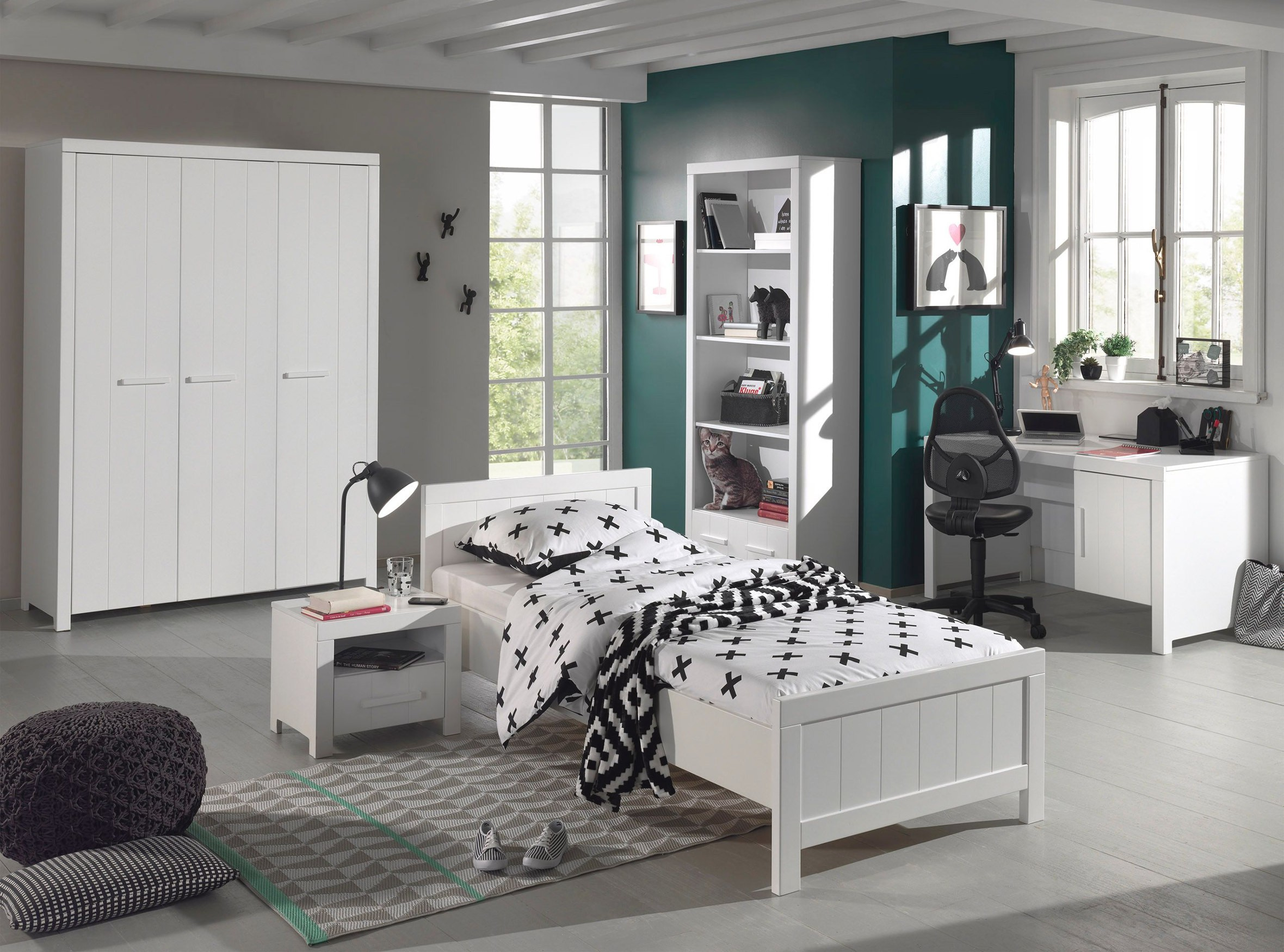 jugendzimmer erik komplett mit einzelbett. Black Bedroom Furniture Sets. Home Design Ideas