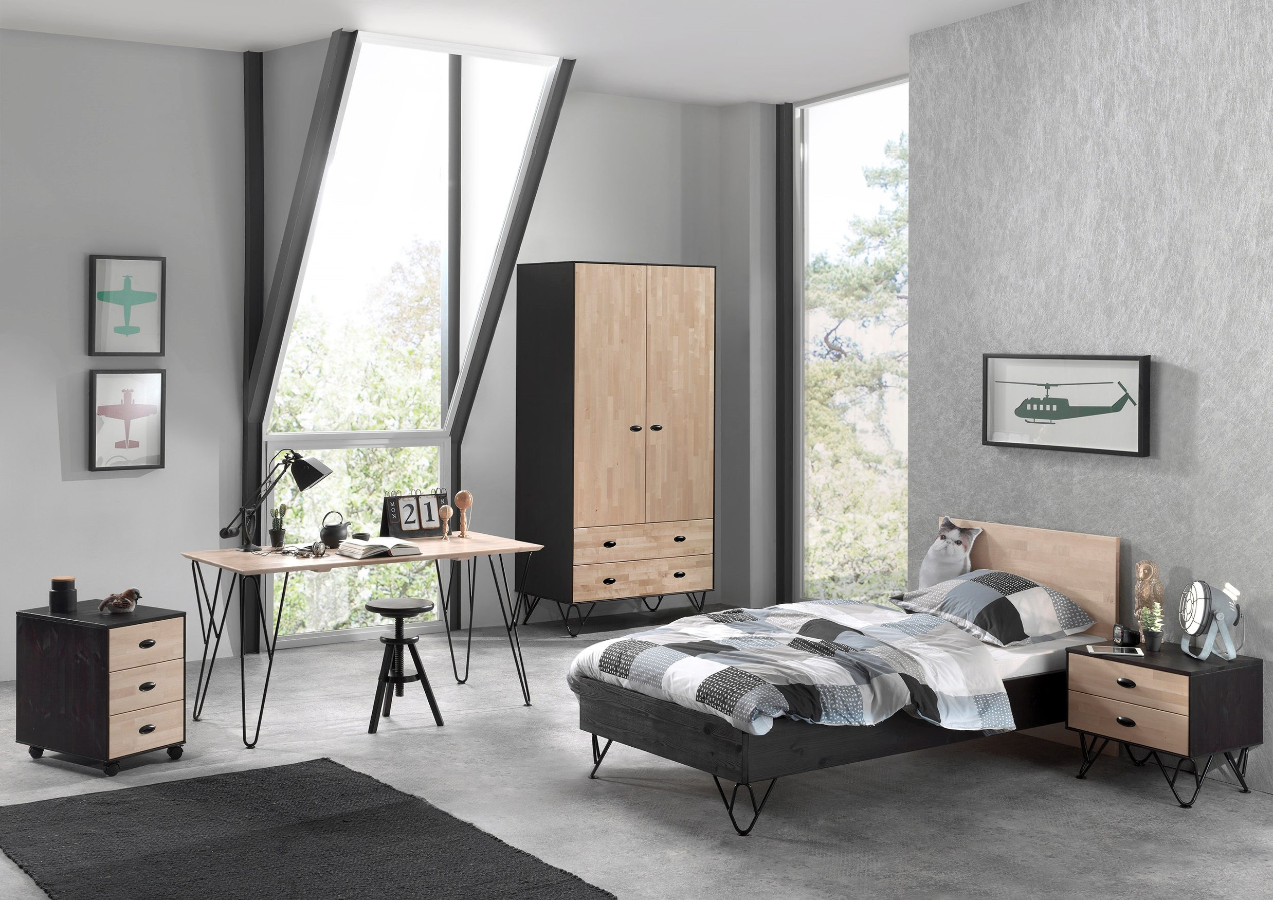 kleiderschrank william 2 t rig birke natur schwarz kinder jugendzimmer kleiderschr nke. Black Bedroom Furniture Sets. Home Design Ideas