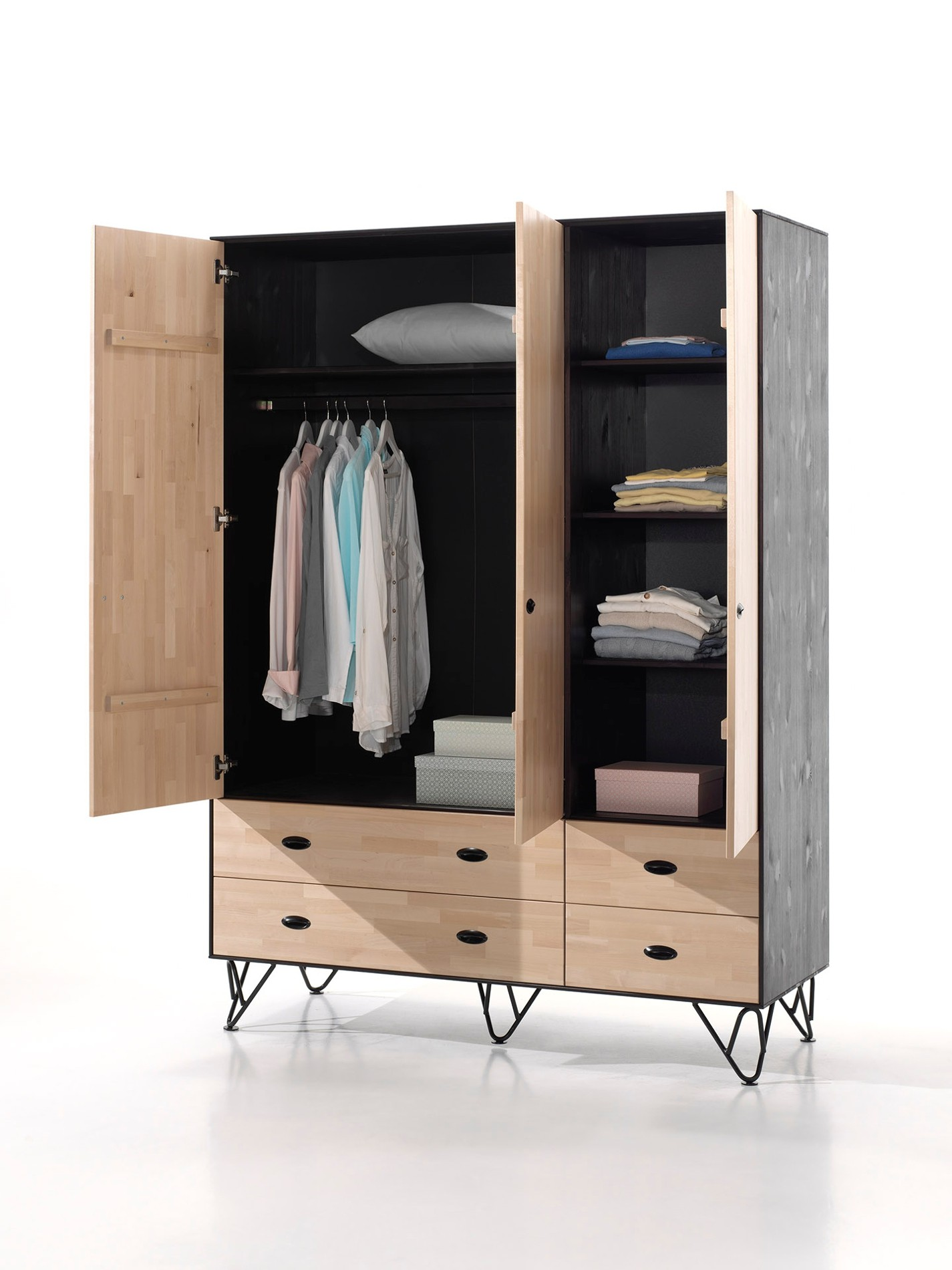 kleiderschrank william 3 t rig birke natur schwarz. Black Bedroom Furniture Sets. Home Design Ideas