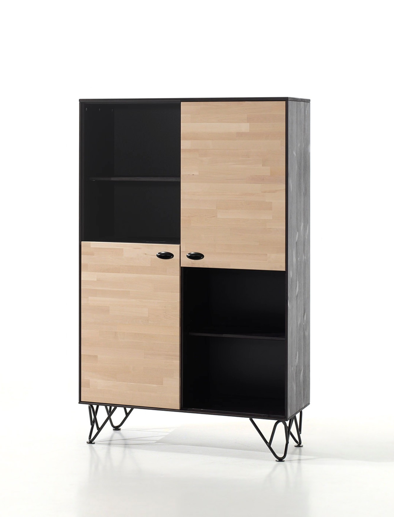 jugendzimmer william 6 teilig mit schrank 2 t rig birke natur schwarz kinder. Black Bedroom Furniture Sets. Home Design Ideas