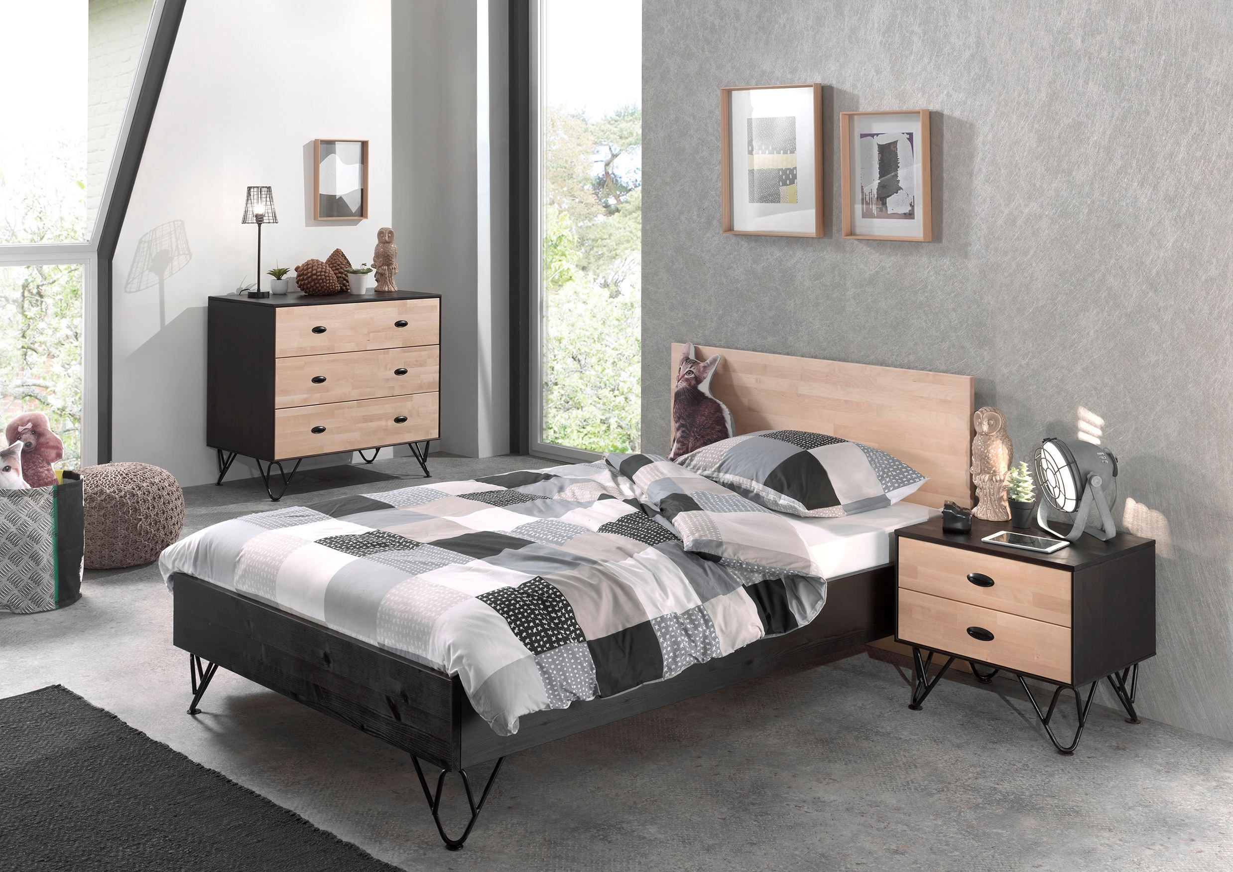 jugendzimmer william bett 120 x 200 cm kommode. Black Bedroom Furniture Sets. Home Design Ideas