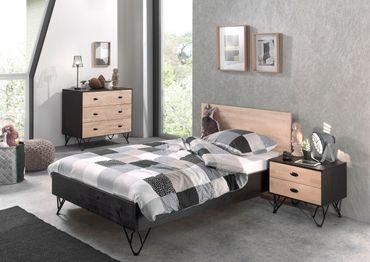 Jugendzimmer WILLIAM - Bett 120 x 200 cm, Kommode, Nachttisch - Birke Natur / Schwarz