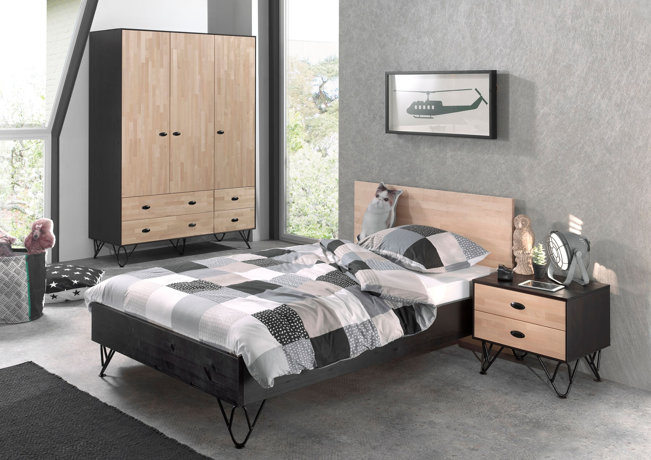 jugendzimmer william bett 120 x 200 cm schrank nachttisch birke natur schwarz kinder. Black Bedroom Furniture Sets. Home Design Ideas