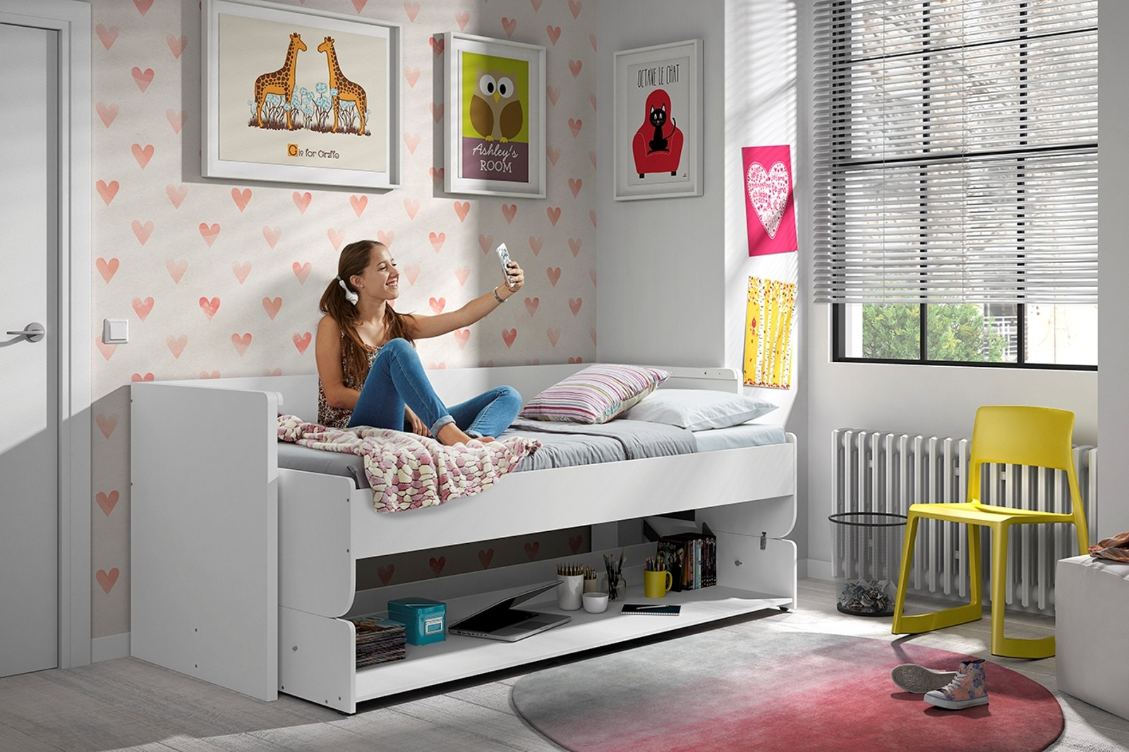 Funktionsbett denver mit einzelbett und schreibtisch for Funktionsbett jugendzimmer