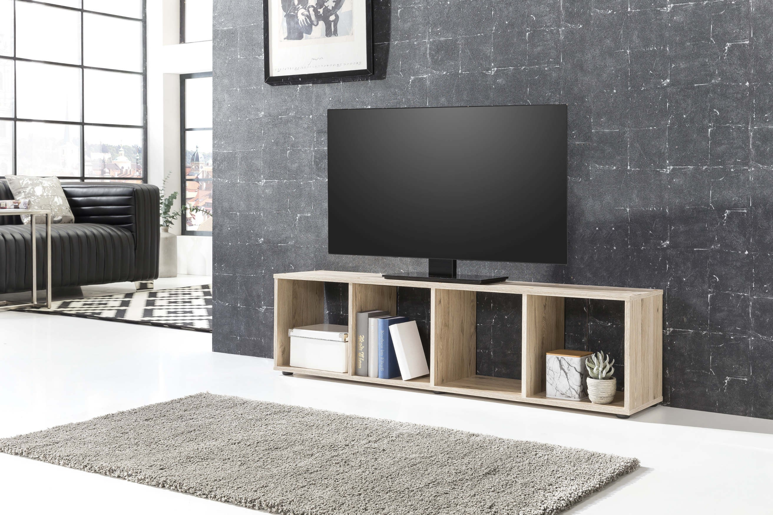 regal maik tv lowboard 4 f cher eiche sand wohnen regale. Black Bedroom Furniture Sets. Home Design Ideas