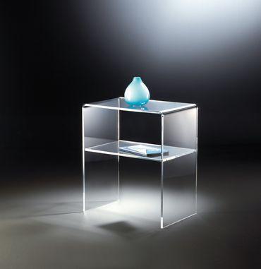 Beistelltisch NEW YORK - mit Ablagefach - Breite 50 cm - Acrylglas
