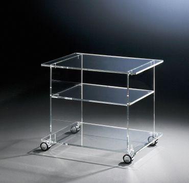 TV-Wagen NEW YORK - mit Rollen und 2 Ablagefächern - Breite 60 cm - Acrylglas