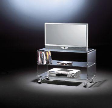 TV-Wagen NEW YORK - mit Rollen und 2 Ablagefächern - Breite 80 cm - Acrylglas