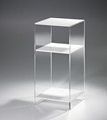 Nachttisch LAS VEGAS - für Boxspringbetten - Höhe 65 cm - Acrylglas / Weiß