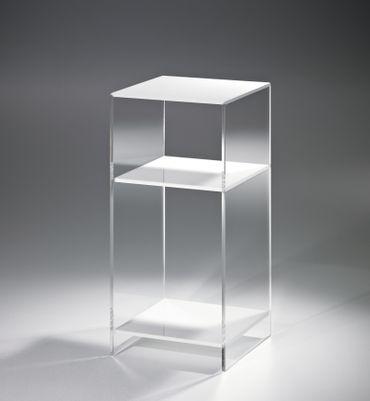 Nachttisch LAS VEGAS - Höhe 55 cm - Acrylglas / Weiß