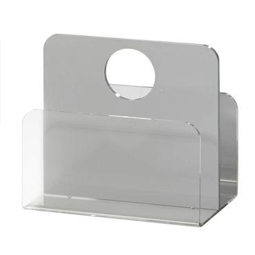 Zeitungsständer LAS VEGAS mit rundem Tragegriff - Acrylglas / Hellgrau