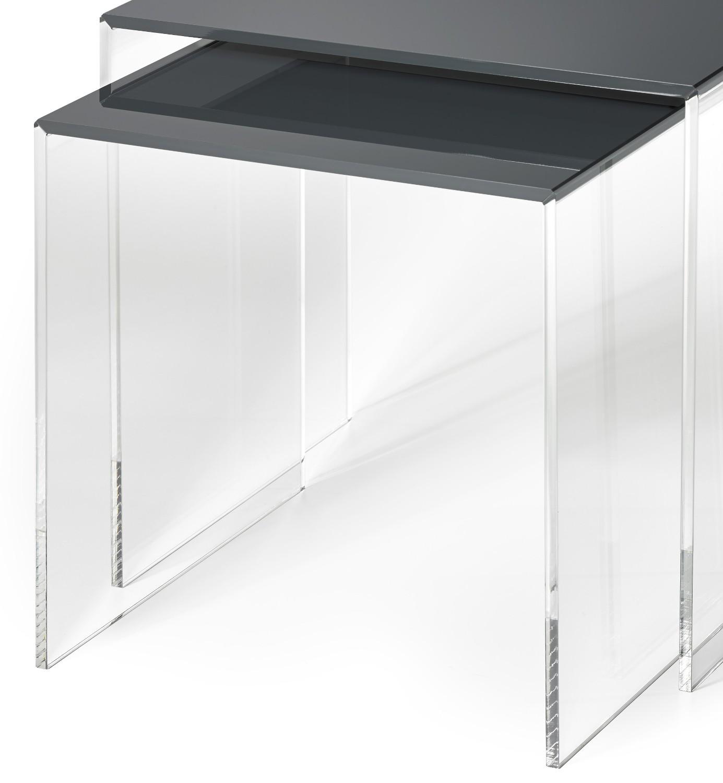 beistelltisch set las vegas 2 teilig acrylglas anthrazit wohnen beistelltische. Black Bedroom Furniture Sets. Home Design Ideas