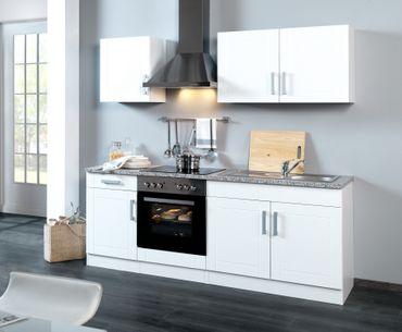 Küchenzeile VAREL - Küche mit E-Geräten - Breite 210 cm - Hochglanz Weiß