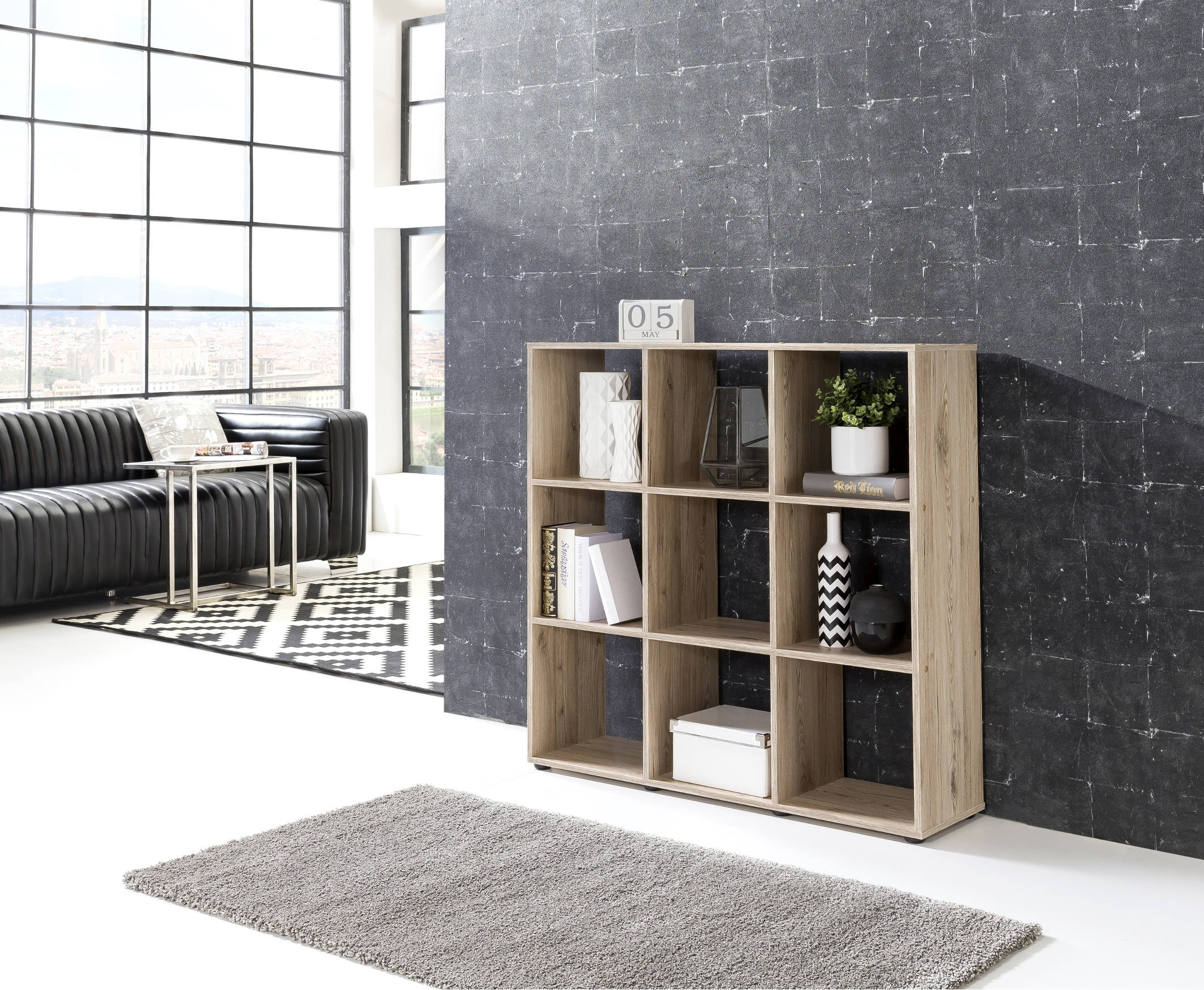 regal maik w rfelsystem 9 f cher eiche sand wohnen regale. Black Bedroom Furniture Sets. Home Design Ideas