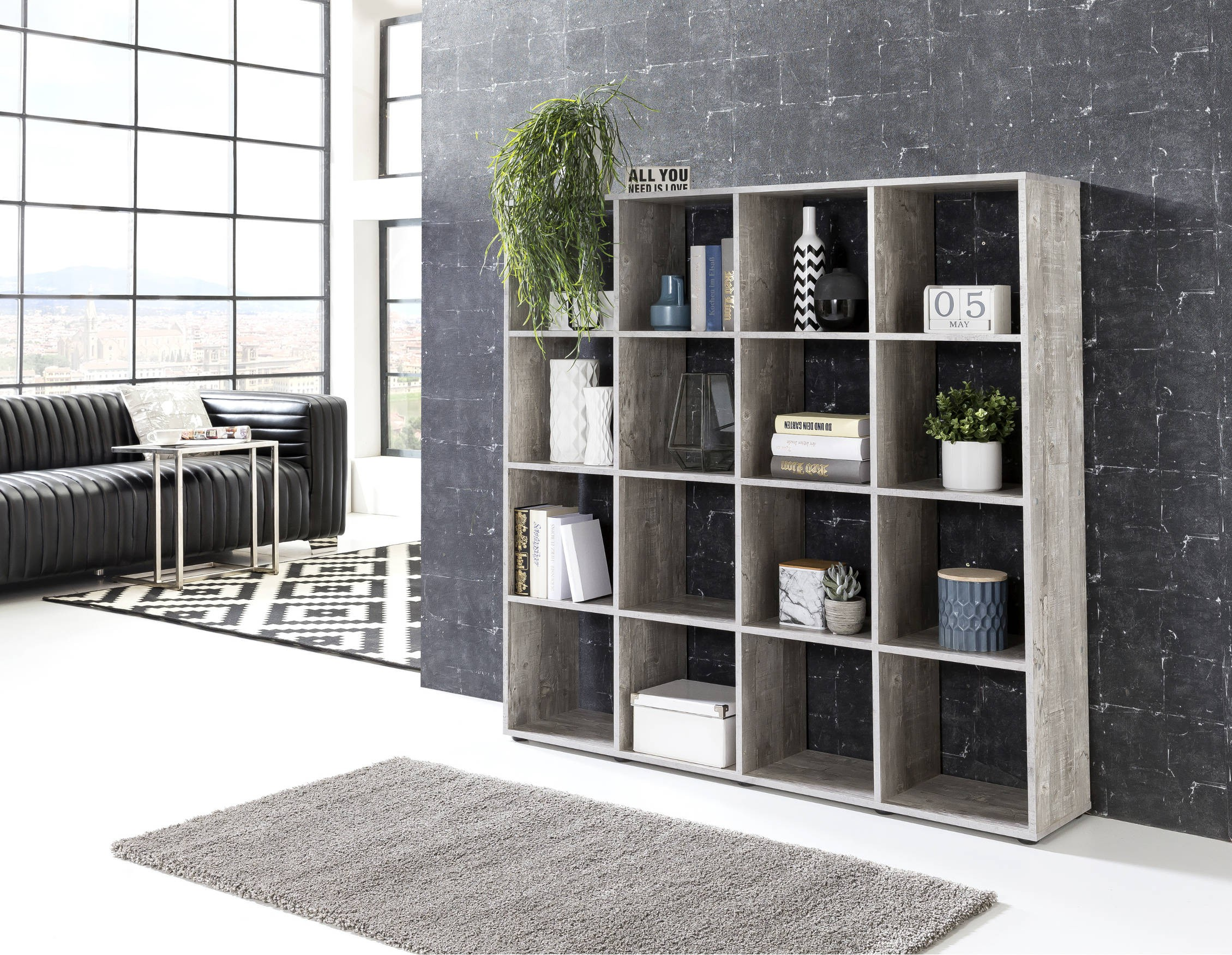 regal maik w rfelsystem 16 f cher beton grau wohnen. Black Bedroom Furniture Sets. Home Design Ideas