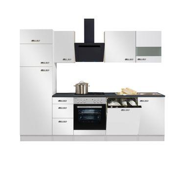 Küchenzeile GRANADA - Vario 4.2 - Küche mit E-Geräten - Breite 270 cm - Weiß