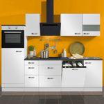 Küchenzeile GRANADA - Vario 10.2 - Küche mit E-Geräten - Breite 270 cm - Weiß