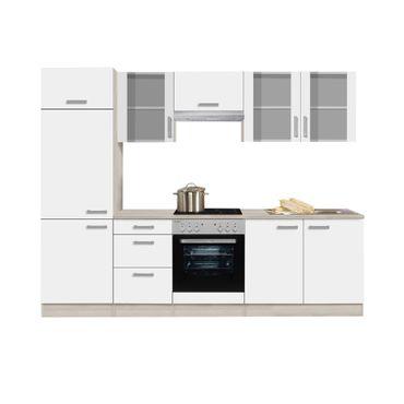 Küchenzeile BARCELONA - Vario 3.2 - Küche mit E-Geräten - Breite 270 cm - Weiß
