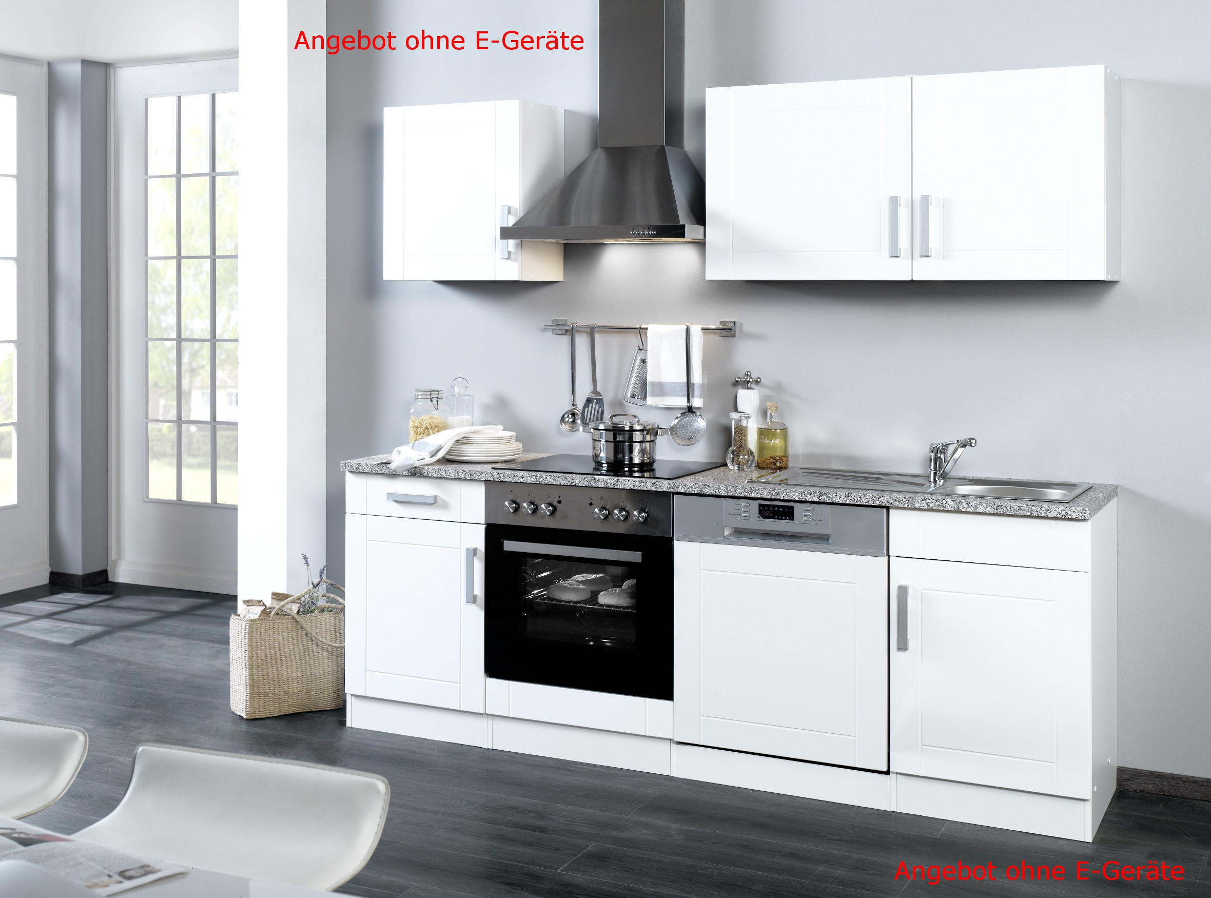 k chenzeile varel k chen leerblock breite 220 cm hochglanz wei k che k chenzeilen. Black Bedroom Furniture Sets. Home Design Ideas