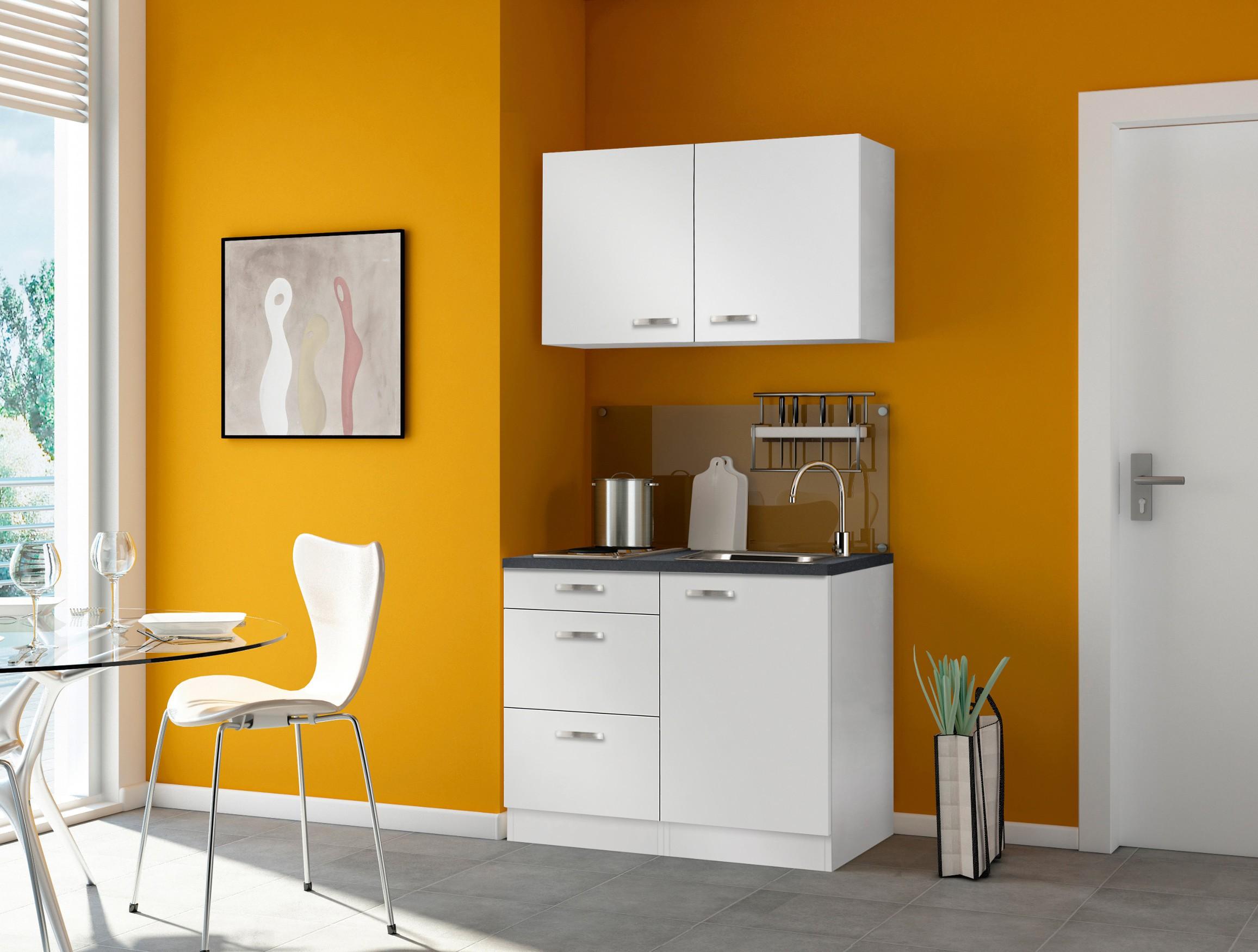 singlek che granada mit elektro kochfeld breite 100 cm wei k che singlek chen. Black Bedroom Furniture Sets. Home Design Ideas