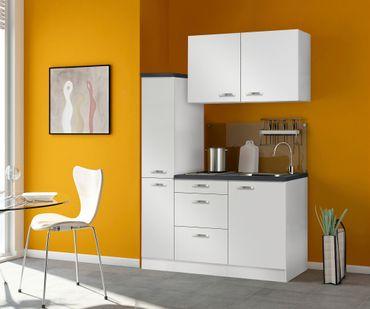 Singleküche GRANADA - mit Glaskeramik-Kochfeld - Breite 130 cm - Weiß