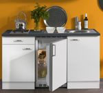 Singleküche GRANADA - mit Glaskeramik-Kochfeld - 8-teilig - Breite 150 cm - Weiß