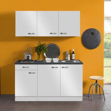 Singleküche GRANADA - mit Glaskeramik-Kochfeld - 7-teilig - Breite 150 cm - Weiß