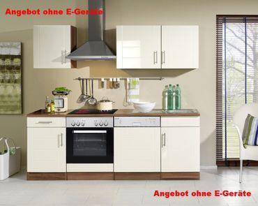 Küchenzeile NEVADA - Küchen-Leerblock - Breite 220 cm - Hochglanz Creme