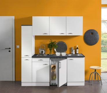 Singleküche GRANADA - mit Elektro-Kochfeld - 9-teilig - Breite 180 cm - Weiß
