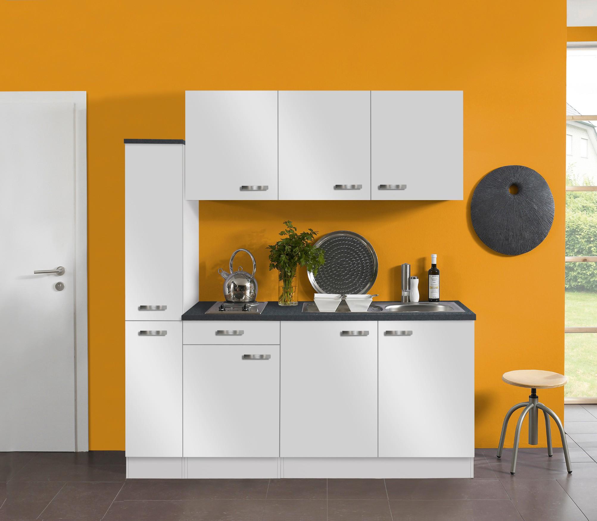 singlek che granada mit elektro kochfeld 8 teilig breite 180 cm wei k che singlek chen. Black Bedroom Furniture Sets. Home Design Ideas
