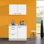 Singleküche BARCELONA - mit Elektro-Kochfeld - Breite 100 cm - Weiß