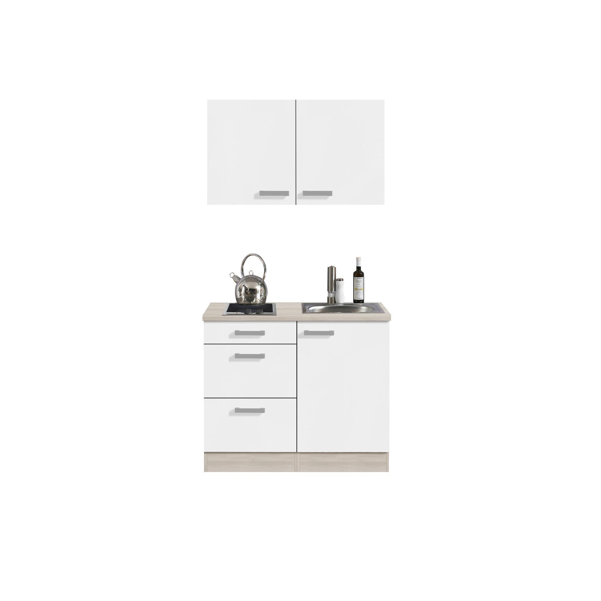 singlek che barcelona mit glaskeramik kochfeld breite 100 cm wei k che singlek chen. Black Bedroom Furniture Sets. Home Design Ideas