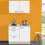 Singleküche BARCELONA - mit Glaskeramik-Kochfeld - Breite 100 cm - Weiß