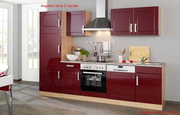 Küchenzeile VAREL - Küchen-Leerblock - Breite 280 cm - Hochglanz Bordeaux Rot