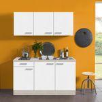Singleküche BARCELONA - mit Elektro-Kochfeld - 7-teilig - Breite 150 cm - Weiß
