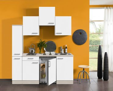 Singleküche BARCELONA - Vario 1 - mit Elektro-Kochfeld - Breite 180 cm - Weiß